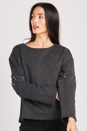 Cut Out Ring Sleeve Sweatshirt