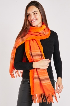 Faux Fur Trim Stripe Scarf