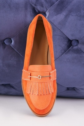 Mock Croc Fringe Detail Loafers