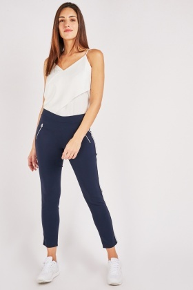 Stripe Side Skinny Fitted Trousers