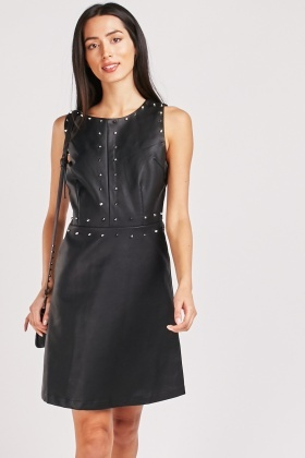 Spike Studded Trim Shift Dress