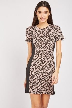 Textured Spiral Cut Shift Dress