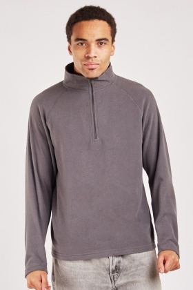 Zipped Neck Fleece Mens Jumper