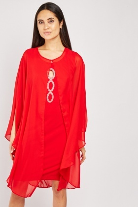Chiffon Cape Overlay Encrusted Dress