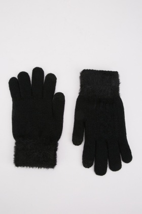 Eyelash Contrast Knit Touch Gloves