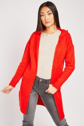 Long Line Hooded Knit Cardigan