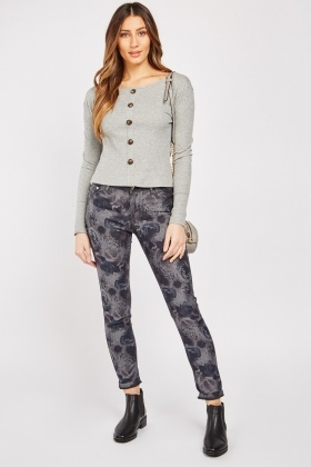 Rose Flower Print Trousers