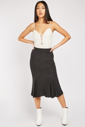 Elasticated Midi Flare Hem Skirt