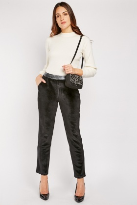 Metallic Mock Croc Waist Velveteen Trousers