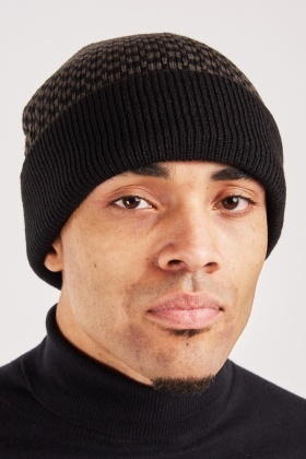 Patterned Knit Beanie Mens Hat