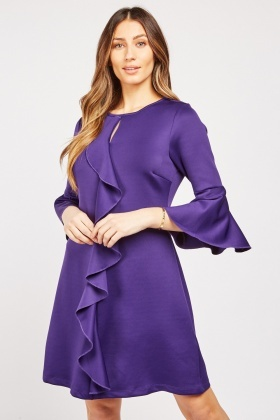 Ruffle Front A-Line Dress