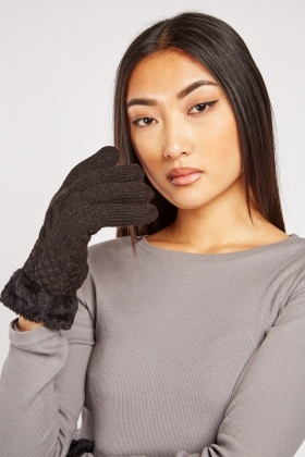 Textured Pattern Chunky Knit Gloves