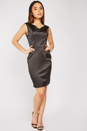 V-Neck Black Sateen Dress