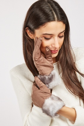 Suedette Faux Fur Trim Touch Gloves