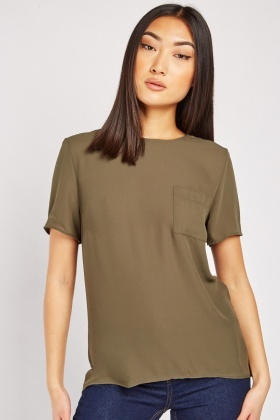 Single Pocket Front Khaki Top