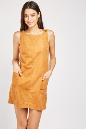 Suedette Camel Pinafore Dress
