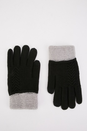 Two Tone Knit Touch Gloves