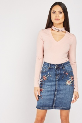 Flower Embroidered Mini Denim Skirt