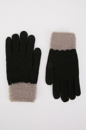 Faux Fur Knit Touch Gloves