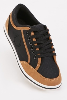 Lace Up Cutwork Contrast Trainers