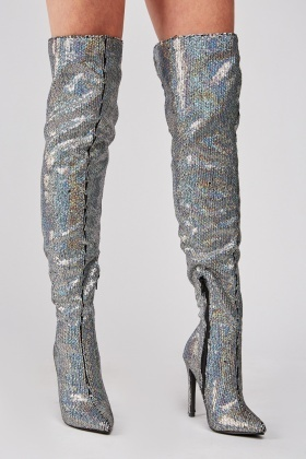Sequin Over The Knee Heeled Boots $7.00