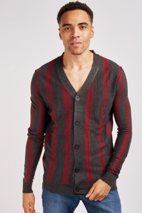 Button Front Striped Knit Cardigan