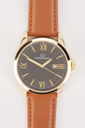 Mens Faux Leather Strap Analogue Watch