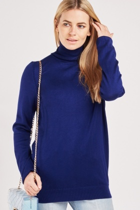 Turtle Neck Voilet Knit Sweater