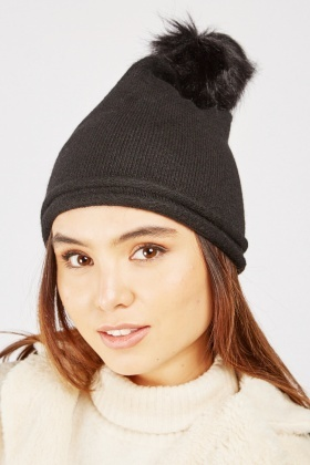 Faux Fur Lined Beanie Hat