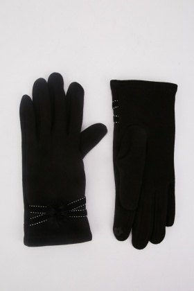 Faux Fur Trim Touch Gloves