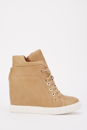 Lace Up Textured Wedge Shoes
