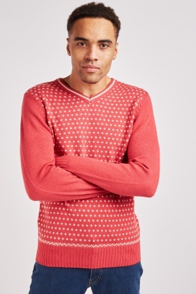 Patterned V Neck Knit Jumper