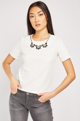 Short Sleeve Detachable Necklace Top