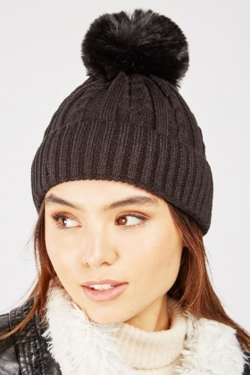 Cable Knit Faux Fur Beanie Hat