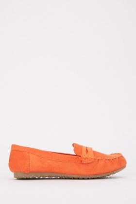 Top Stitched Suedette Loafers