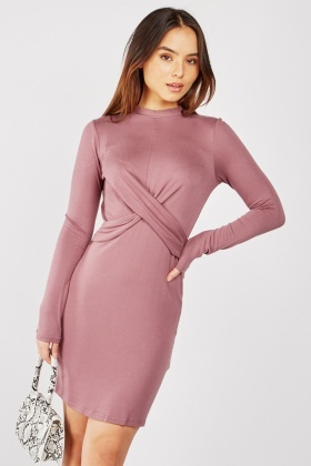 Draped Front Bodycon Dress