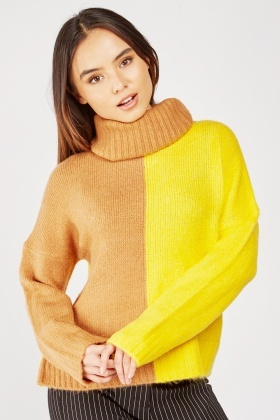 Two Tone Roll Neck Jumper