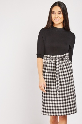 Paper Bag Waist Checkered Skirt