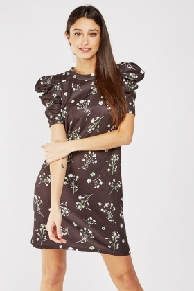 Puff Sleeve Floral Shift Dress