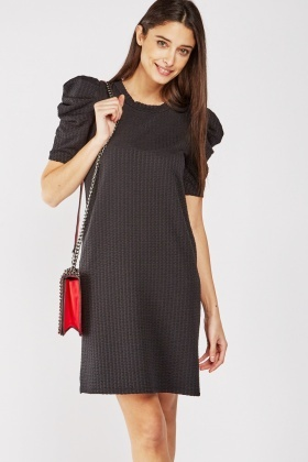Puff Sleeve Textured Dress