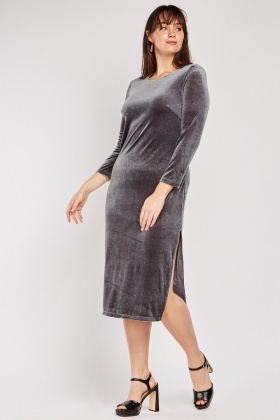 Shimmery Velveteen Midi Dress