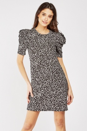 Gathered Sleeve Leopard Print Dress