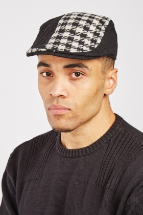 Houndstooth Woven Flat Cap