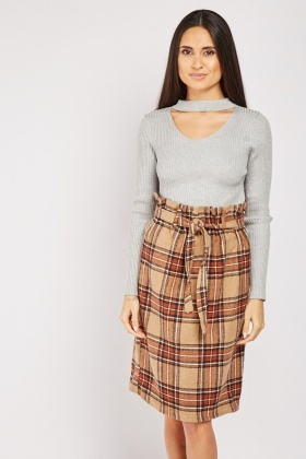 Paper Bag Waist Plaid Skirt
