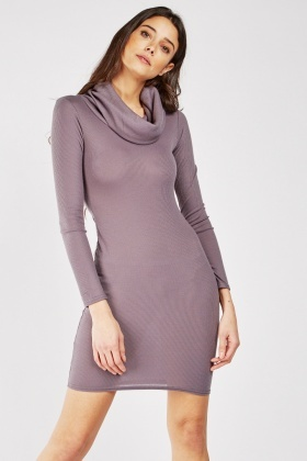 Slouchy Neck Ribbed Bodycon Dress