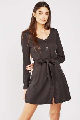Button Front Light Ribbed Dress