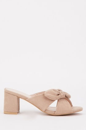 Knotted Front Block Heel Mules