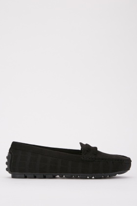 Patterned Suedette Loafers