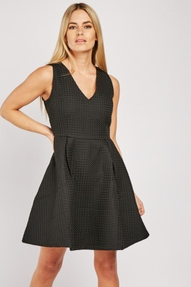 Cut Out Back Textured Skater Dress