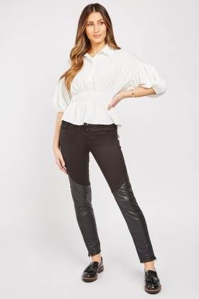 Quilted Faux Leather Panel Trousers